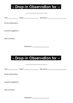 Drop-in Observation Form
