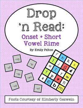Drop 'n Read: Onsets + Short Vowel Rimes