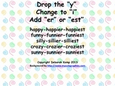 """Drop the """"y"""" Poster for Comparative Adjectives"""