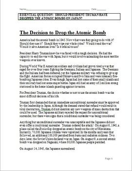 Dropping the Atomic Bombs on Japan: Investigation