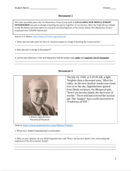 Dropping of the Bomb: Document Based Question (DBQ)
