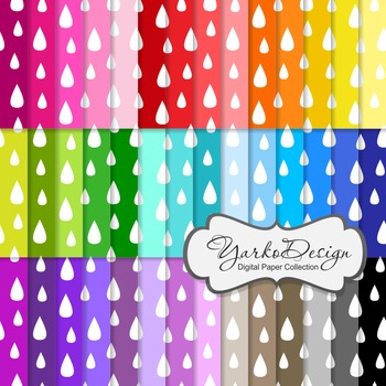 Drops, Rain Digital Pattern Scrapbooking Paper Set, 42 Dig