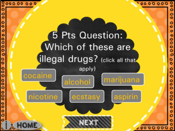 Drug Awareness Jeopardy Game for Grades 4-6