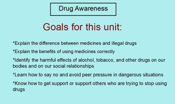 Drug Awareness Unit (Health:  Grades 2 - 6) Smart Board & PowerPoint unit