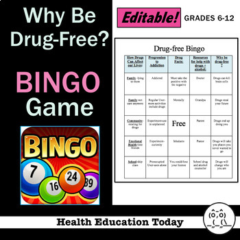 Health Lesson: Drug-Free BINGO! Game: Fun, Engaging Way to Review Drug Topics