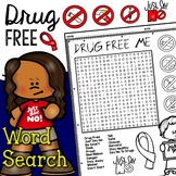 Drug Free Red Ribbon Week Word Search Activity