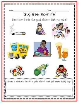 Drug Free That's Me!- Red Ribbon Week Activity