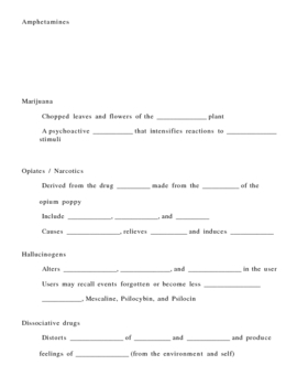 Drug Use Misuse and Abuse Notes Outline Lesson Plan