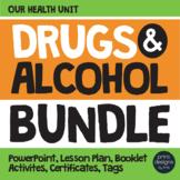 Drug and Alcohol Unit BUNDLE, Certificates, Lesson - Red Ribbon & Prevention