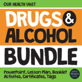 Drug and Alcohol Unit BUNDLE, Certificates, Lesson - Red Ribbon & Prevention