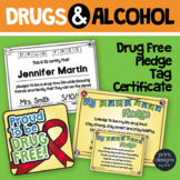 Drug and Alcohol Unit Tags, Certificates, Pledge - Red Rib