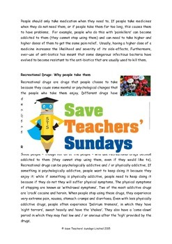 Drugs, Alcohol and Tobacco Lesson plan, Text and Questions