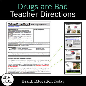 Drugs Are Bad:  FREE! 25-Slide PowerPoint and Anti-Drug Lesson