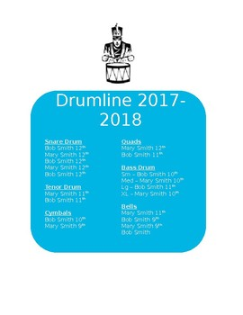 Drumline Assignments