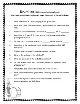 Drumline Comprehension Sheet