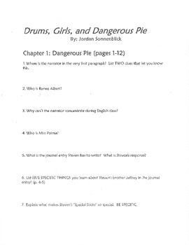 Drums, Girls, and Dangerous Pie Complete Novel Study