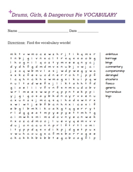 Drums, Girls, and Dangerous Pie WORD SEARCH