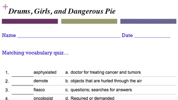 Drums, Girls, and Dangerous Pie quiz