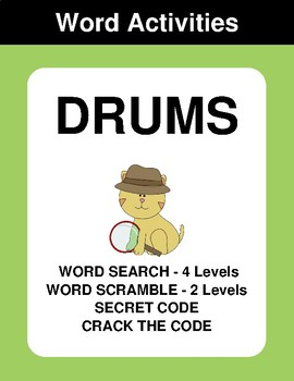 Drums - Word Search, Word Scramble,  Secret Code,  Crack the Code