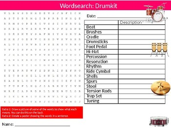 Drums Wordsearch Puzzle Sheet Keywords Music Musical Instruments