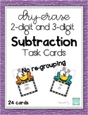 Dry Erase 2-digit and 3-digit subtraction task cards - No