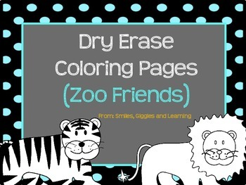 Dry Erase Coloring Pages (Zoo Friends)