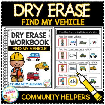 Dry Erase Community Helper Workbook: Find My Vehicle