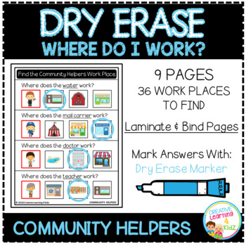 Dry Erase Community Helper Workbook: Where Do I Work?