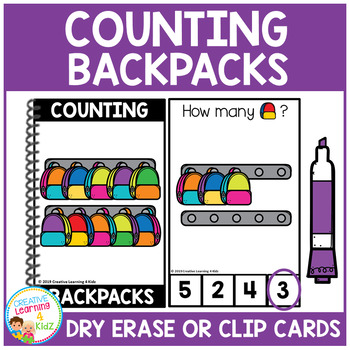 Dry Erase Counting Book/Cards or Clip Cards: Backpacks - Back to School