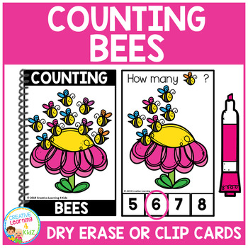 Dry Erase Counting Book/Cards or Clip Cards: Bees - Spring