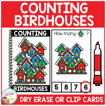 Dry Erase Counting Book/Cards or Clip Cards: Birdhouses - Winter
