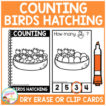 Dry Erase Counting Book/Cards or Clip Cards: Birds Hatching - Spring