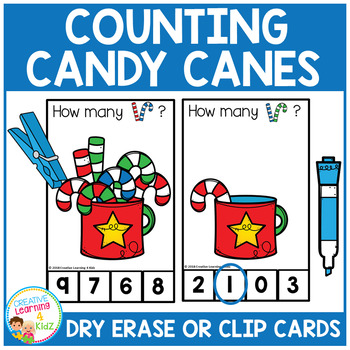 Dry Erase Counting Book/Cards or Clip Cards: Christmas Candy Canes