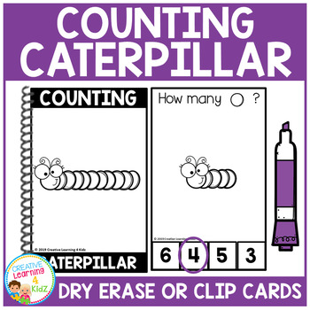 Dry Erase Counting Book/Cards or Clip Cards: Caterpillar - Spring