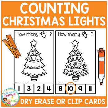 Dry Erase Counting Book/Cards or Clip Cards: Christmas Lights