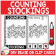 Dry Erase Counting Book/Cards or Clip Cards: Christmas Stockings