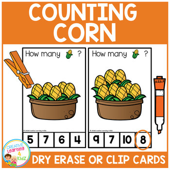 Dry Erase Counting Book/Cards or Clip Cards: Corn - Thanksgiving Dinner