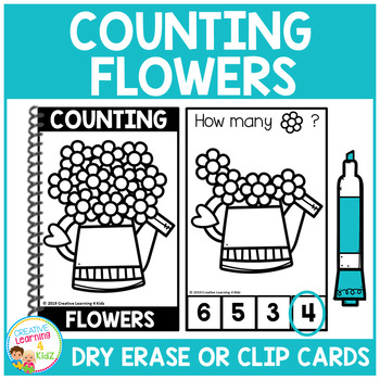 Dry Erase Counting Book/Cards or Clip Cards: Flowers - Spring