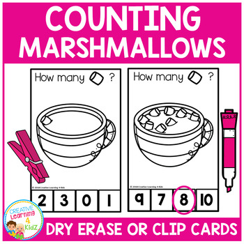 Dry Erase Counting Book/Cards or Clip Cards: Marshmallows - Winter