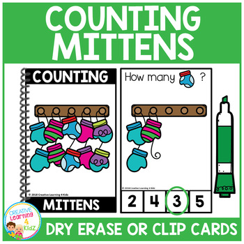 Dry Erase Counting Book/Cards or Clip Cards: Mittens - Winter