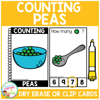 Dry Erase Counting Book/Cards or Clip Cards: Peas - Thanksgiving Dinner