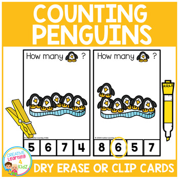 Dry Erase Counting Book/Cards or Clip Cards: Penguins - Winter