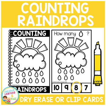 Dry Erase Counting Book/Cards or Clip Cards: Raindrops - Spring