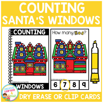 Dry Erase Counting Book/Cards or Clip Cards: Santa's Windows - Christmas