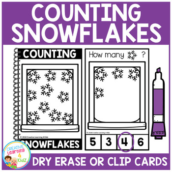 Dry Erase Counting Book/Cards or Clip Cards: Snowflakes - Winter
