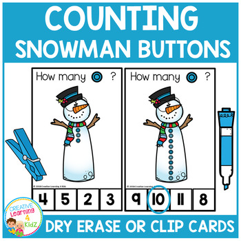 Dry Erase Counting Book/Cards or Clip Cards: Snowman Buttons - Winter