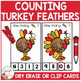 Dry Erase Counting Book/Cards or Clip Cards: Turkey Feathers - Thanksgiving