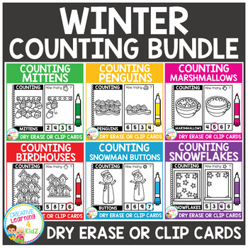 Dry Erase Counting Book/Cards or Clip Cards: Winter Bundle
