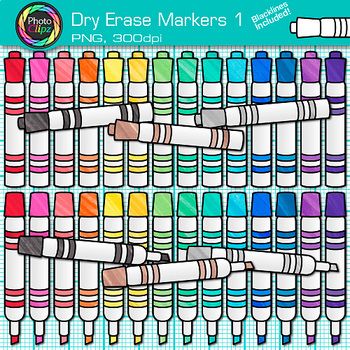 Dry Erase Marker Clip Art {Rainbow Glitter Back to School Supplies} 1