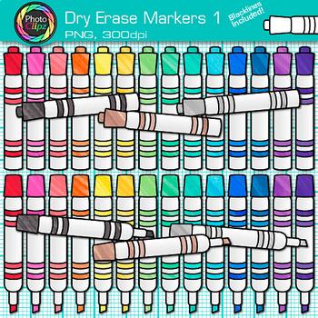 Dry Erase Marker Clip Art {Rainbow Glitter Back to School Supplies} 1